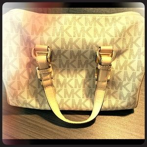 Michael Kors White & Brown handbag